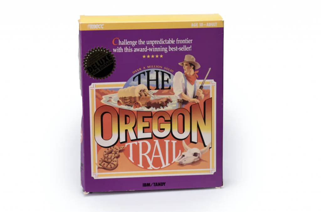 Picture of the cover to The Oregon Trail, a famous 1970s computer game